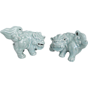 Japanese Vintage Pottery Celadon Glazed Pair of Okimono/Ornaments/ Statues of the Chinese 獅Shi - shi Lion