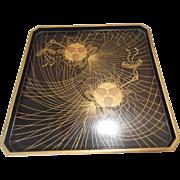 Japanese Vintage Lacquered Wood Tray with Maki-e Motif of Kusudama