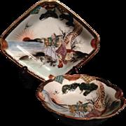 Kutani 九谷焼 Vintage Pair Porcelain Plate and Bowl Motif of Rōfūfu or Elderly Couple