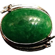 Japanese Vintage Faux Jade and Silver Brooch or Pin