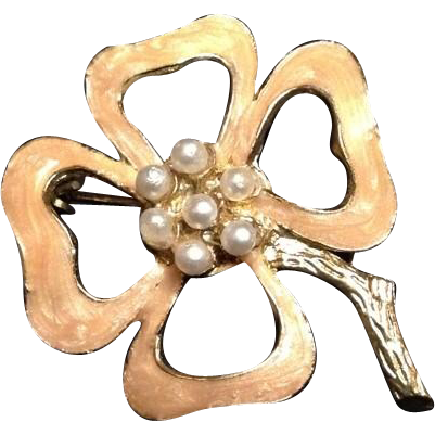 Japanese Vintage Faux Gold and Pearl Enameled Brooch/ Pin of a Flower