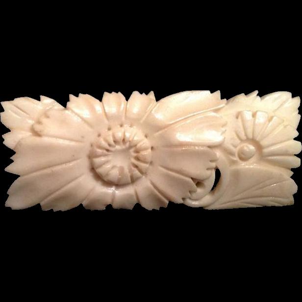 Japanese Vintage Faux Ivory Brooch/ Pin Floral Motif