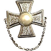 Japanese Vintage Faux Silver and Pearl Brooch/ Pin in Motif of Maltese Cross