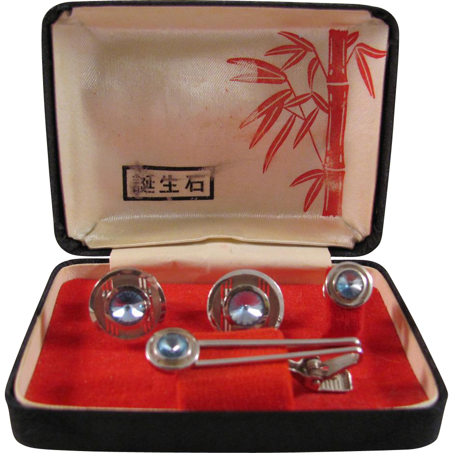 Japanese Retro Men's Faux Silver and Aquamarine Tie Tack, Clip and Cuff Link Set