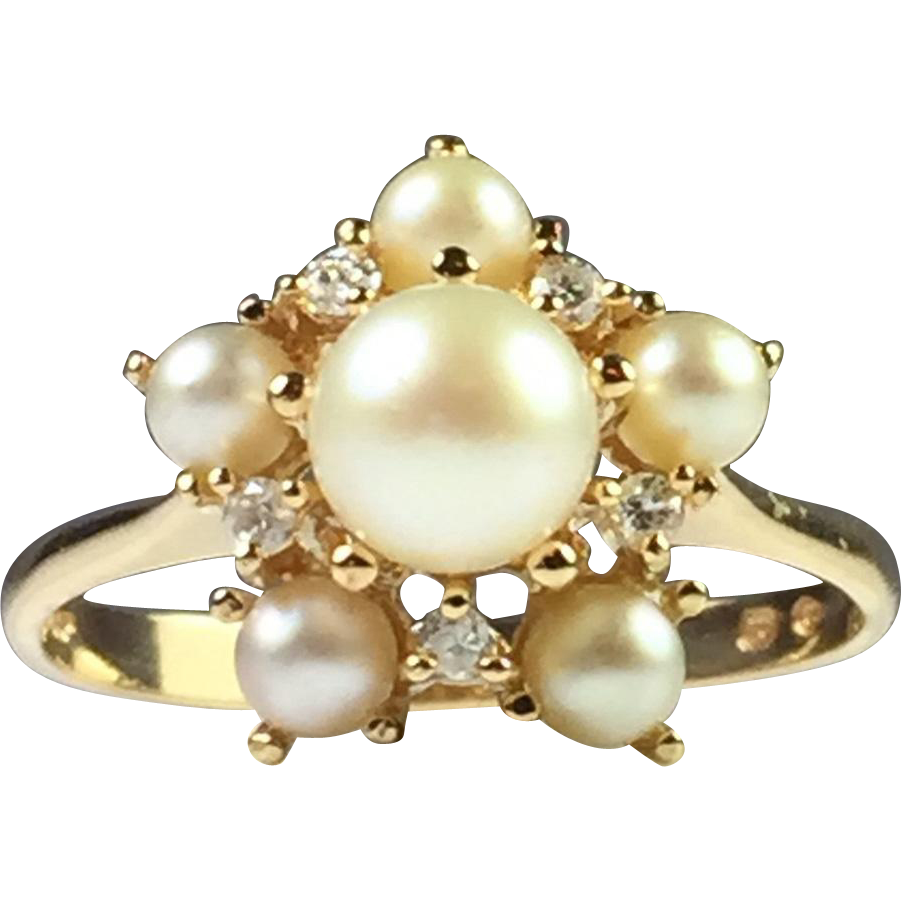 14k vintage cultured pearl and diamond cluster ring from. Black Bedroom Furniture Sets. Home Design Ideas