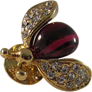Vintage Gold Tone Figural Rhinestone Lapel Pin of a Fruit Fly