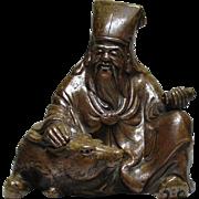 Japanese Kyu- Bizen Ware God of Longevity Jurojin and Deer