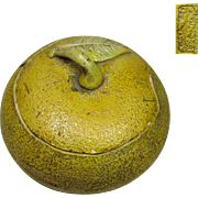 Japanese Antique Pottery Lidded Bowl of a Yellow Glazed Citron called Yuzu ゆず