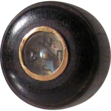 Japanese Antique Rare 18th c. Edo Period Netsuke 根付 or Ojime Flame Colored Bamboo Inlaid with Bronze Compass