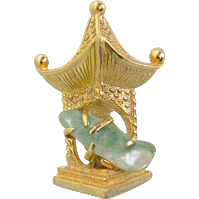 Vintage Gold Tone and Jade Style Quartz Stone Pin or Brooch of Pagoda by BSK