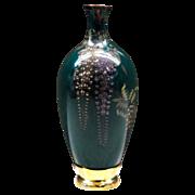 Japanese Antique Miniature Cloisonne Vase with Wisteria