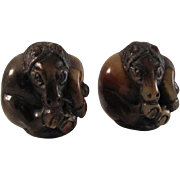 Japanese Unusual Vintage Stained & Lacquered Wood Netsuke 根付 Horse Carvings, Pair