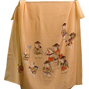 Japanese Vintage Silk Scarf Children Dress like Samurai