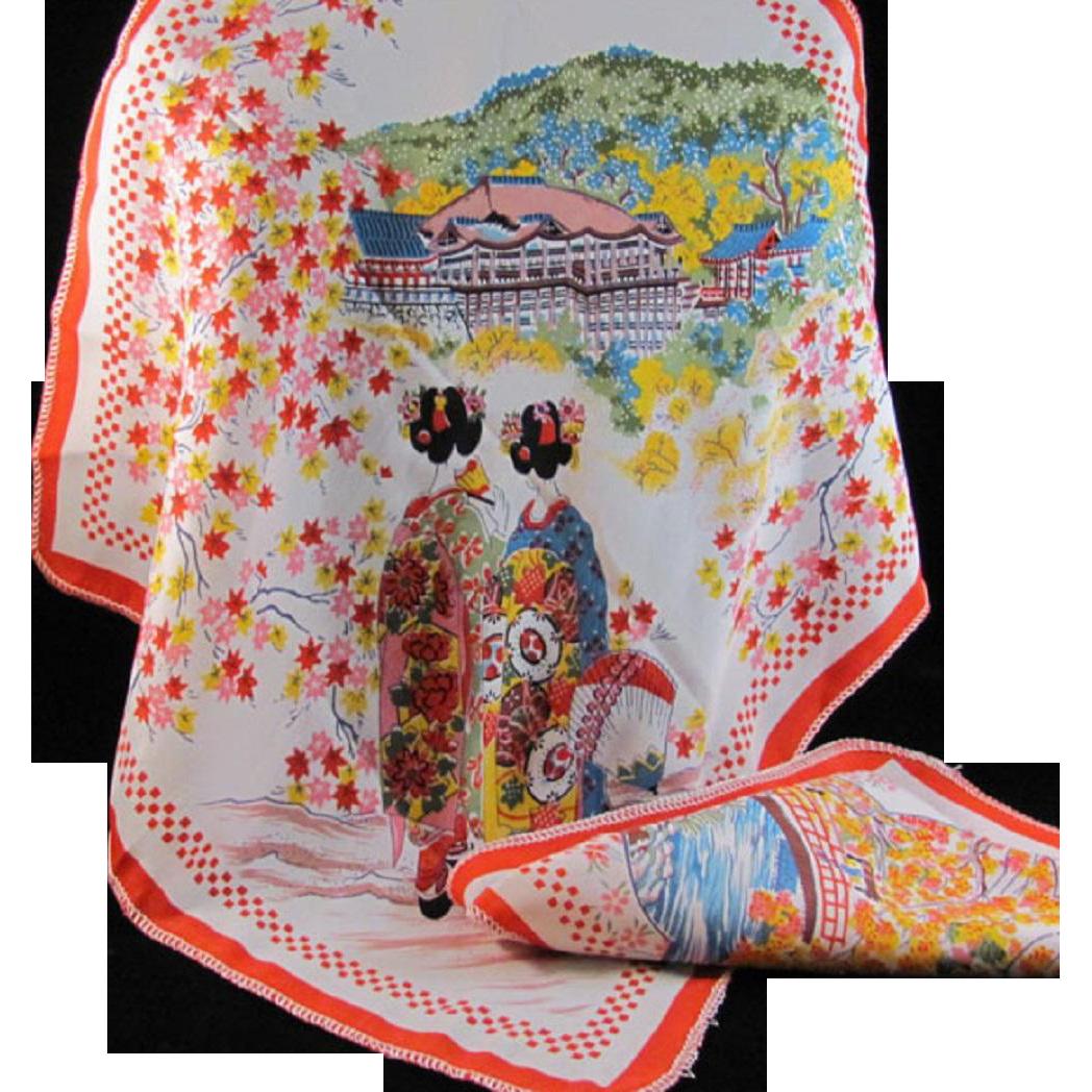 Japanese Vintage Silk Blend Pair of Handkerchiefs