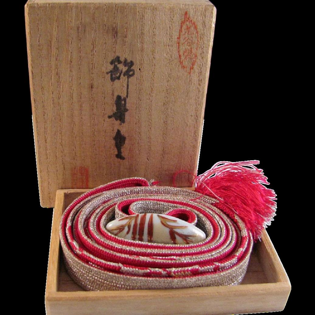 Japanese Vintage Kutani-yaki 九谷焼 Porcelain Obidome with Silk Obijime Cord or Belt Sash  for Kimono Obi