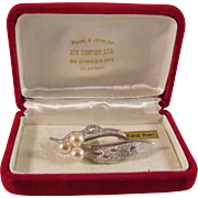 Cultured Pearl and Sterling Silver Unique Vintage Japanese Brooch or Pin Original Box
