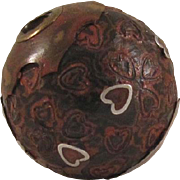 Japanese Antique Lacquered Wood Ojime Bead with Metal Hearts