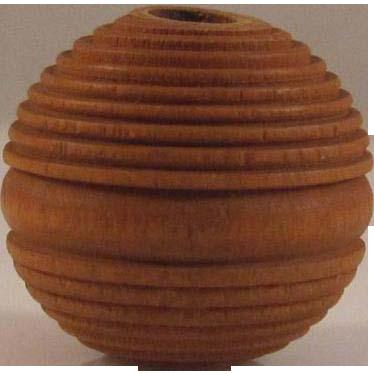 Japanese Vintage Ribbed Pine Wood Ojime or Sliding Cord Fastener Bead