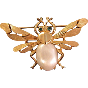 Trifari Mid-Century Figural Insect Pin Jelly Belly Pearl and Green Rhinestone eyes on Gold Tone