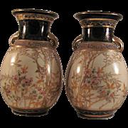 Japanese Antique Kiyomizu Ware Rare Pair of Satsuma Style Stoneware Vases by Sennosuke Kusube