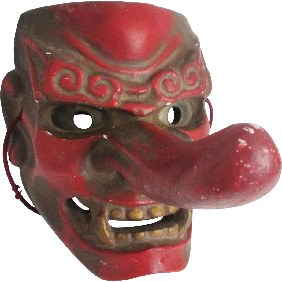 Japanese Vintage Konoha Yamabushi Tengu  天狗 Mask of Mountain and Forrest goblins