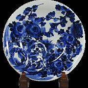 Japanese ko-Imari Porcelain Large Platter in Indigo Blue and White Floral Painting