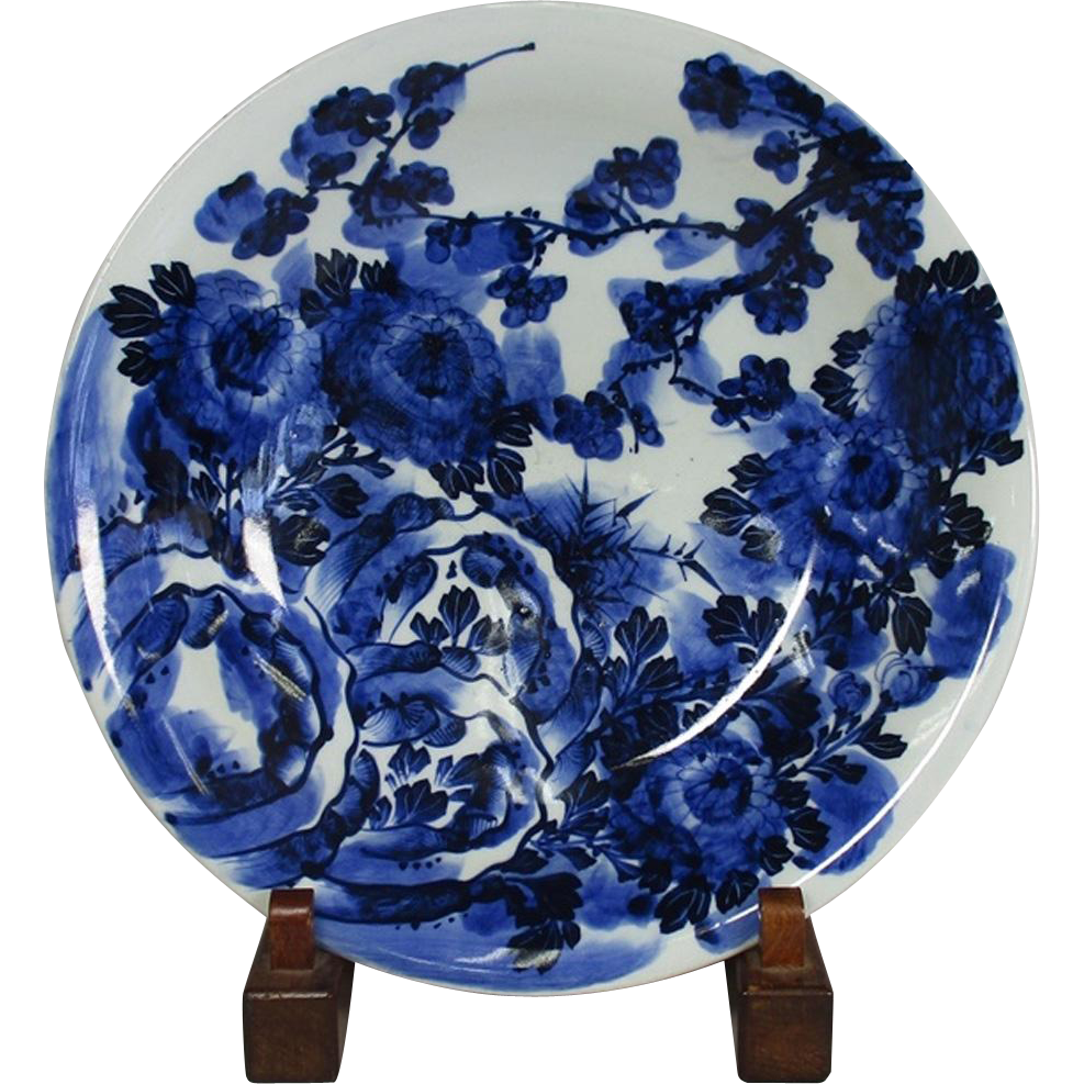 Japanese Antique Edo-Imari Porcelain 14.5 in Charger in Indigo Blue and White