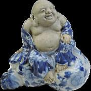 Japanese Antique Kutani Porcelain Ornament or Statue of Hotei with Blue and White Kimono
