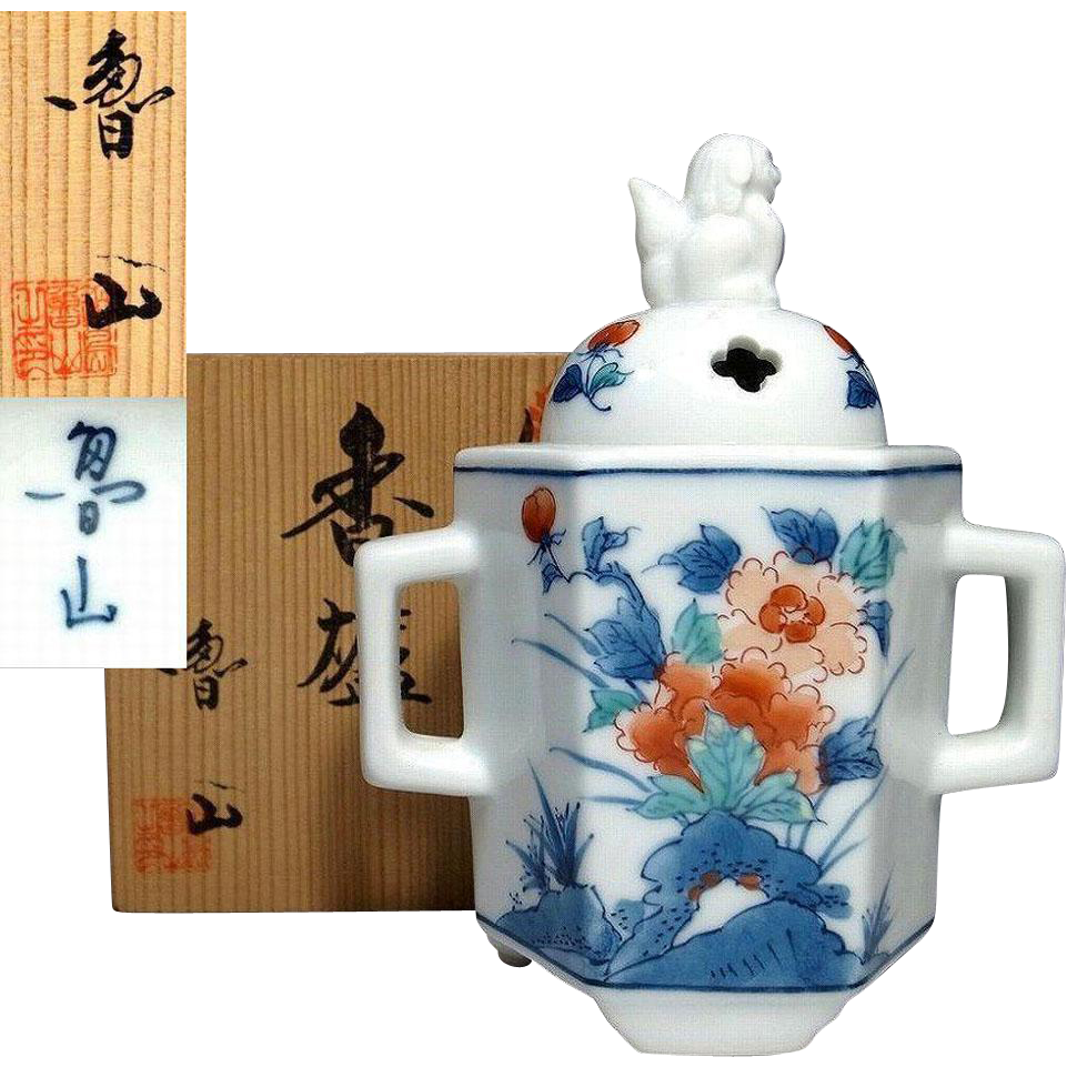 Fine Japanese Arita- Kakiemon 柿右衛門 Porcelain Koro or Incense Burner