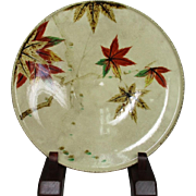 Japanese Vintage Kyoto Ware Pottery Large Plate or Platter Decorated with Colorful Momiji or Maple Leaf