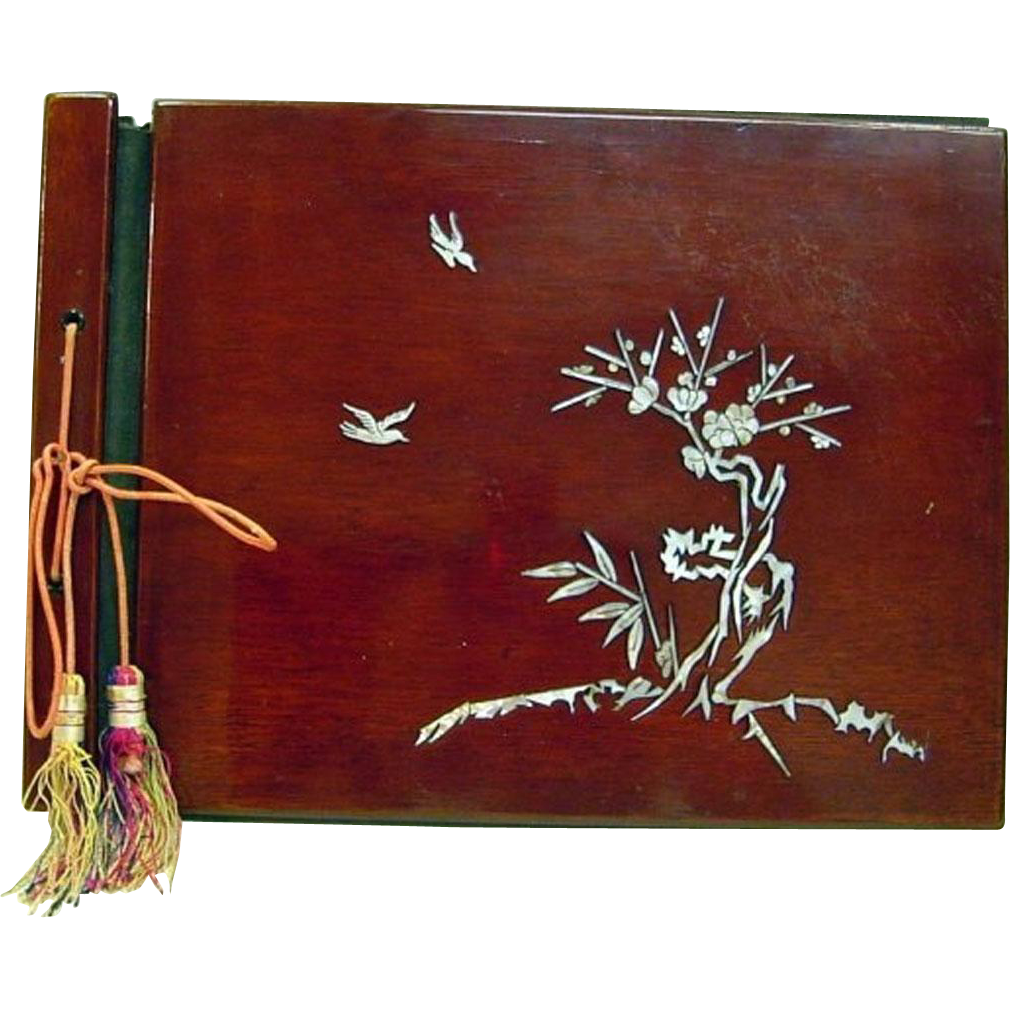 Japanese Antique 19th c. Lacquered Cherry Wood Photo Album with Mother of Pearl Shell Inlay