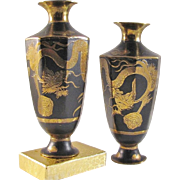 Japanese Vintage Etched and Enameled Bronze Pair of Miniature Vases with Dragon
