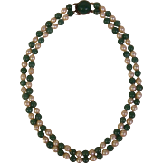 Japanese Vintage Early Showa Cultured Pearl and Blue Green Jade Double Strand Necklace with Sterling Jade Clasp