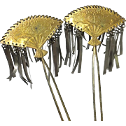 Japanese Antique Edo Period Pair of Ōgi- Bira Kinzashi 簪 of Copper and Bronze Fans with Decorative Kamon