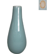 Japanese Contemporary Nabeshima Blue Celadon Glazed Porcelain Vase by Famous Potter Choshun Ogasawara IX