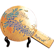 Japanese Vintage Lacquered Wood Gold and Wisteria Hand Mirror