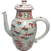 Japanese Kyoto Ware Porcelain Chocolate or TeaPot of Three Friends Motif in Red and Green