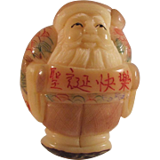 Japanese or Chinese Old Vintage Decorated Ornament of Santa Clause of a Tagua Nut