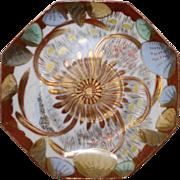 Japanese Vintage Kutani Porcelain Rokkaku-zara Plate Highly Decorated Sea Life and Gold