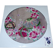 Japanese Cotton Handkerchief Made by Yuzen with Temari Ball Decoration