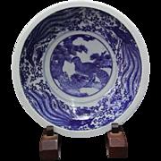 Japanese Vintage Inbante Copper Wire Transferware Blue on White Large Porcelain Bowl with Phoenix