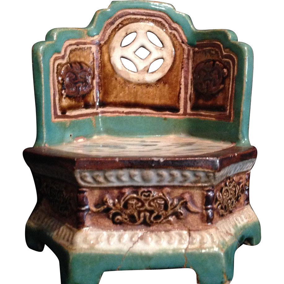 Chinese Mid-Century Enameled Stoneware Ornament or Statue of the Emperor's Throne