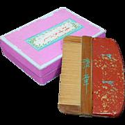 Japanese Antique Tsuge Suki-gushi or Boxwood Comb and Case