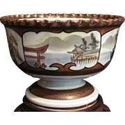 Antique Japanese Kutani Porcelain Haisen Cup Washer or Pedestal Bowl Scene of Itsukushima Shrine Floating Gate