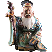 Japanese Antique Kutani Porcelain Ornament or Small Statue of Jurojin  寿老人 of the Seven Lucky Gods