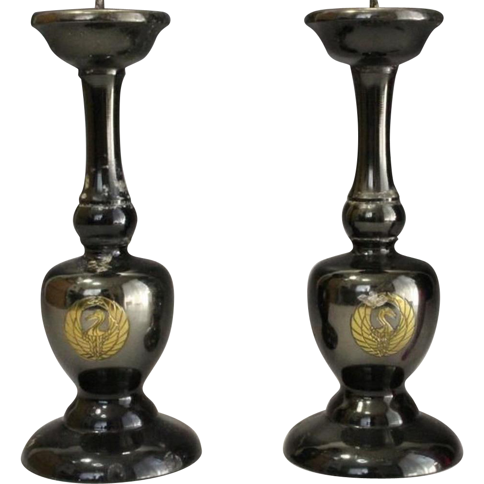 Japanese Vintage Pair of Shokudai or Candlestick Alter fitting with Kamon Motif