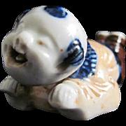 Antique Hirado 平戸 Porcelain Netsuke Ornament Reclining Nodder Karako