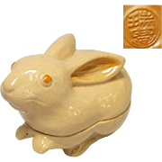 Japanese Vintage Kyoto Ware Pottery Kogo or Incense Box of Bunny Rabbit by Potter Zuiho Kawai 河合瑞豊