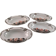 Vintage Porcelain Set of Four Silver and Rose Trimmed Ashtray or Dishes Marked Dresden Art