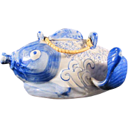 Chinese Vintage Figural Blue and White Teapot of a Fish